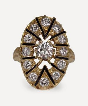 Gold Diamond and Enamel Plaque Ring