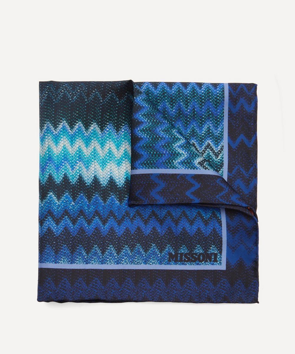 Missoni Zig-zag Silk-twill Pocket Square In Blue