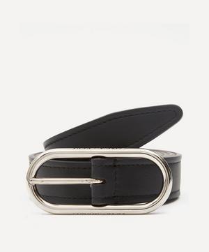 Logo Buckle Leather Belt