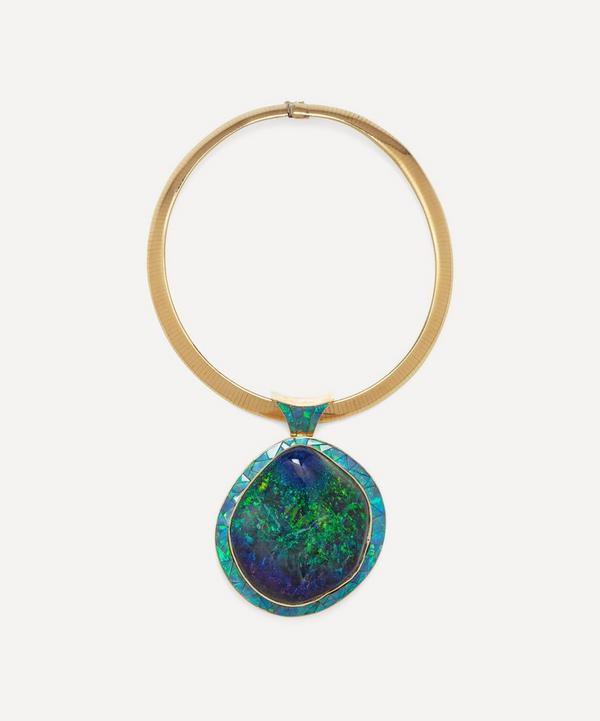 Kojis - 14ct Gold Black Opal Pendant Necklace