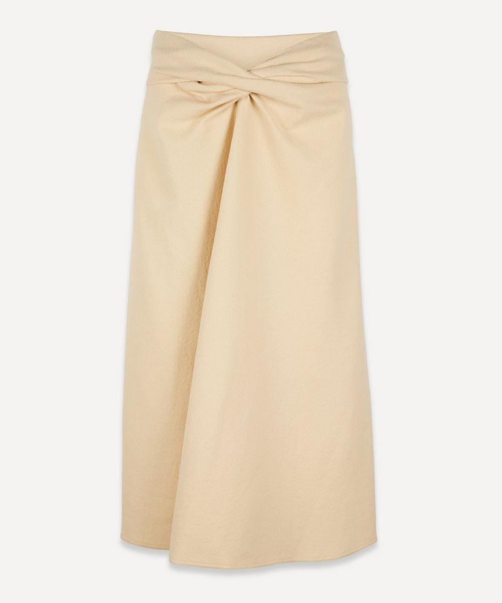 Lemaire TWIST FRONT WOOL MIDI-SKIRT