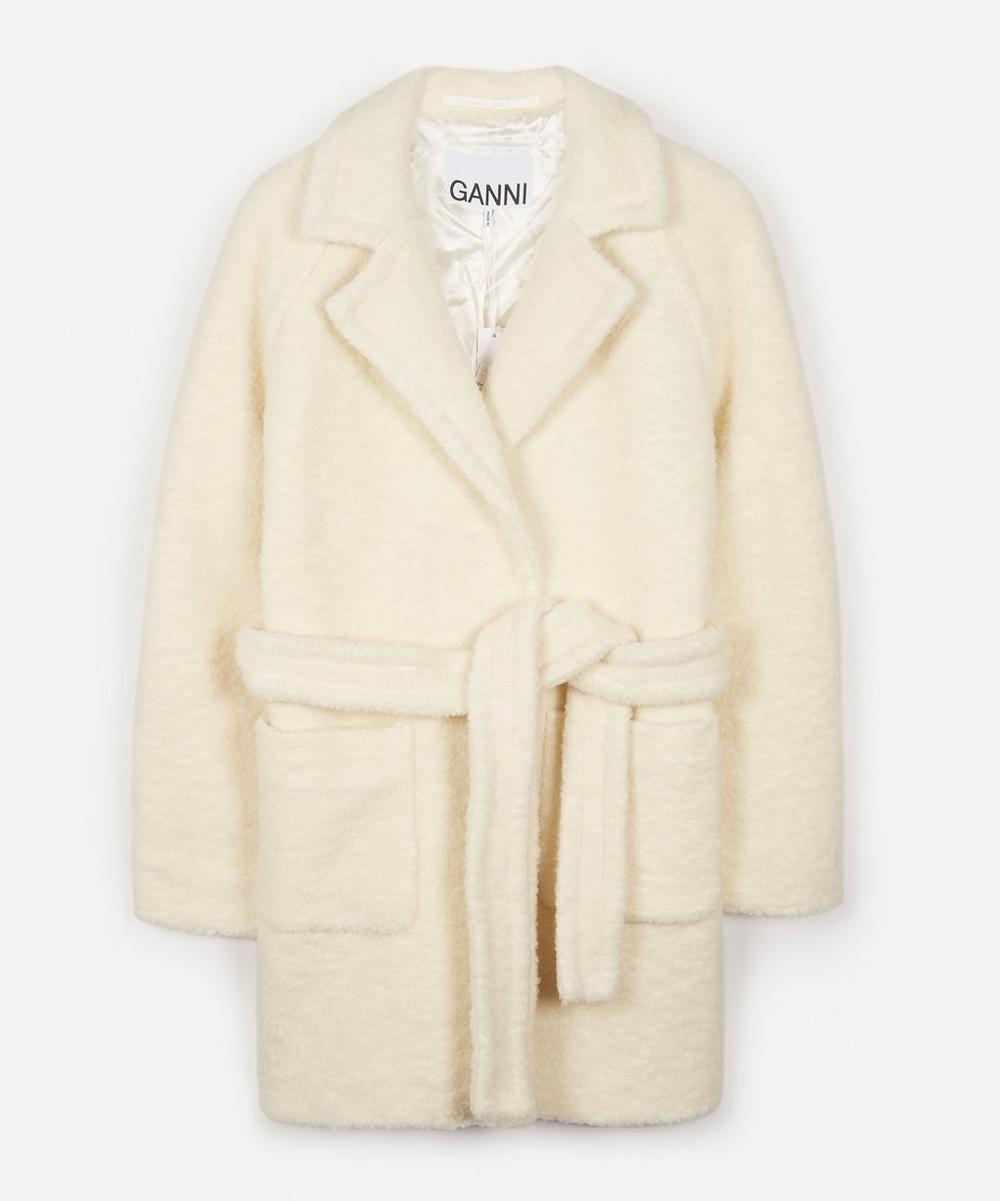 Ganni - Bouclé Wool-Blend Belted Coat