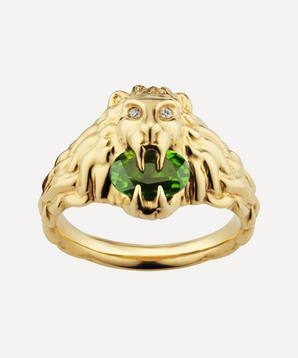 Gucci - 18ct Gold Chrome Diopside and Diamond Lion Head Ring