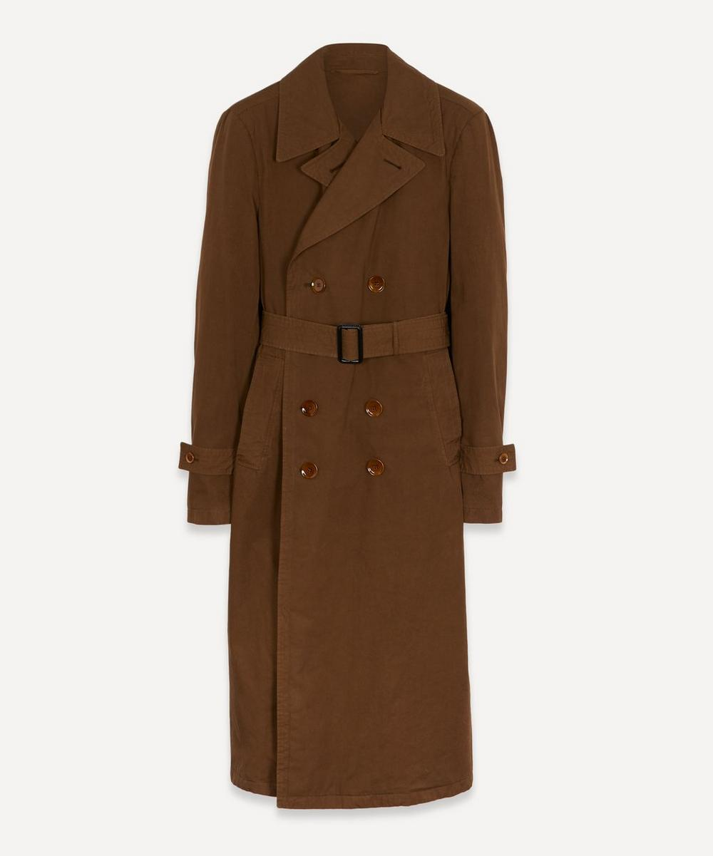 Lemaire Cotton Trench Coat In Dark Brown