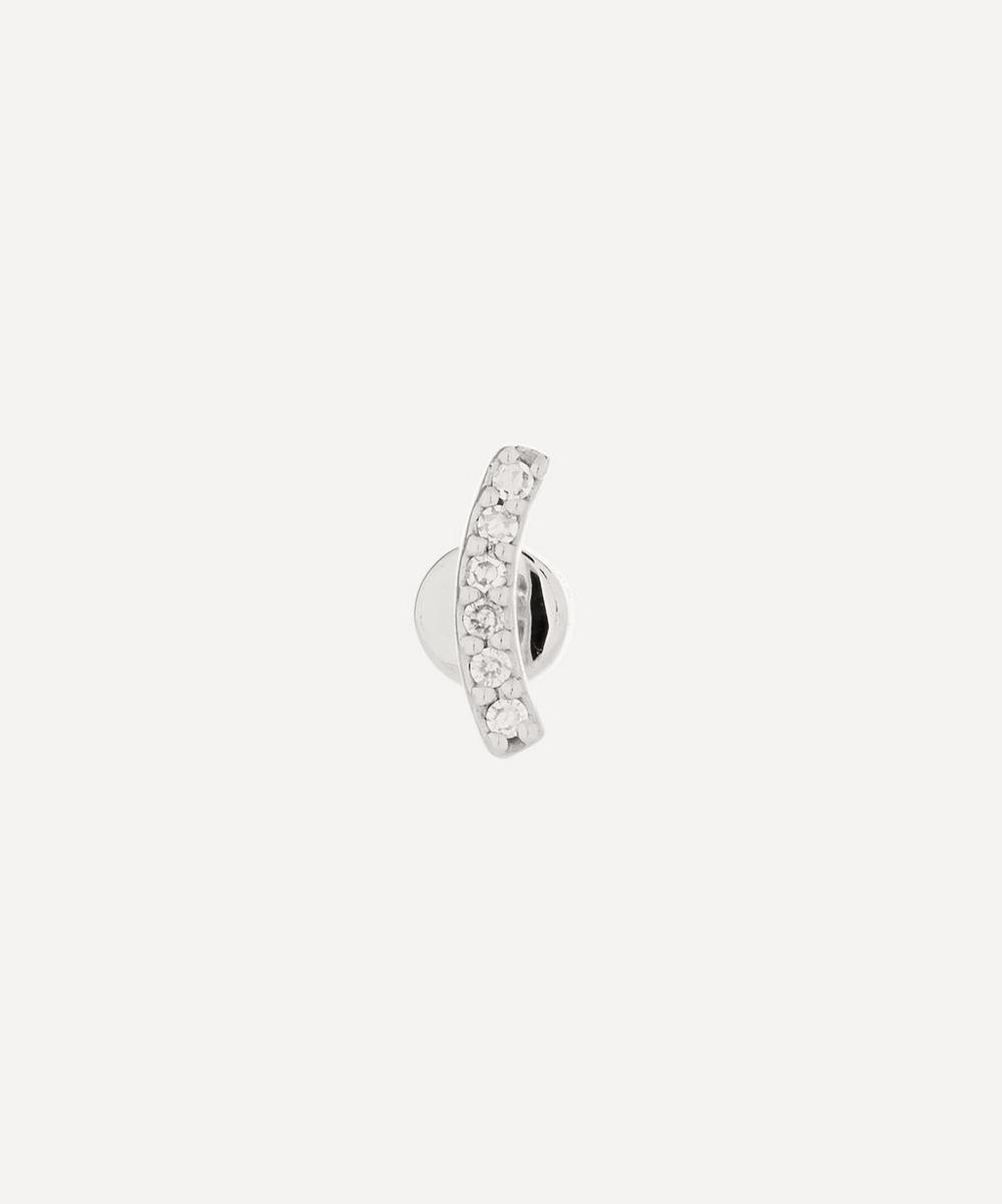 Maria Black White Gold Crescent Diamond Stud Earring