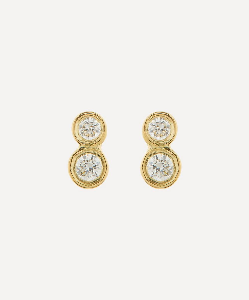 Satomi Kawakita - 18ct Gold Double White Diamond Stud Earrings