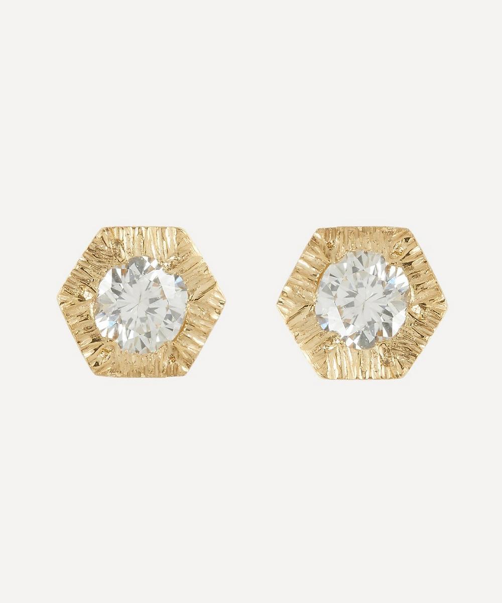 Satomi Kawakita - 18ct Gold Baby White Diamond Hexagon Stud Earrings