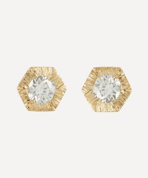 18ct Gold Baby White Diamond Hexagon Stud Earrings