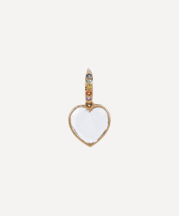 Pascale Monvoisin - 9ct Gold Gabin N°2 Engraved Crystal and Rainbow Sapphire Drop Earring