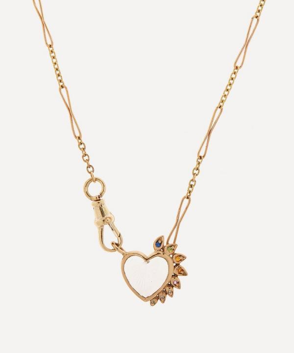 Pascale Monvoisin - 9ct Gold Gabin N°4 Engraved Crystal Rainbow Sapphire and Diamond Pendant Necklace