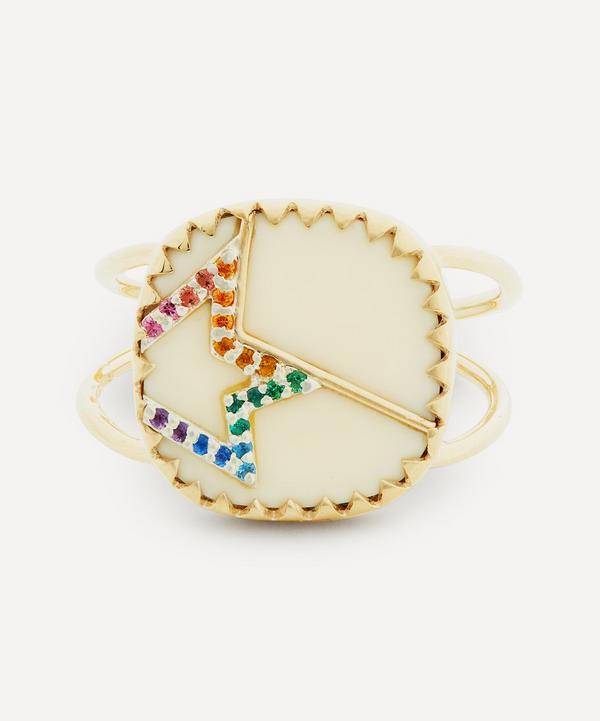 Pascale Monvoisin - 9ct Gold Varda N°2 Rainbow Nanogem and Bakelite Ring