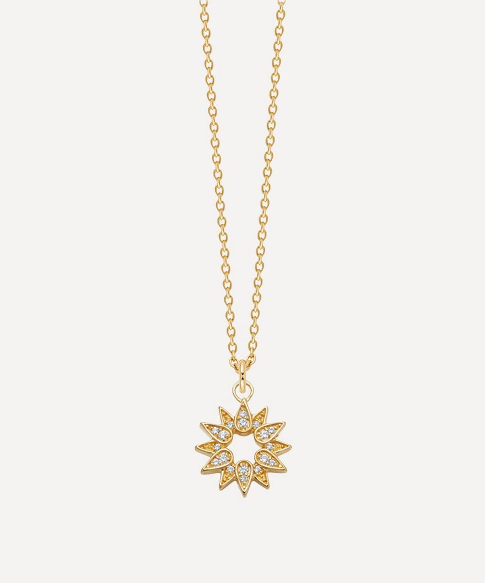 Astley Clarke - Gold Plated Vermeil Silver Biography White Sapphire Sun Pendant Necklace