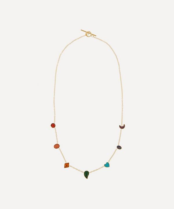 Grainne Morton - Gold-Plated Multi-Stone Rainbow Mini Charm Necklace
