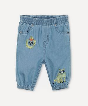 Wild Cats Embroidered Chambray Trousers 3 Months-3 Years