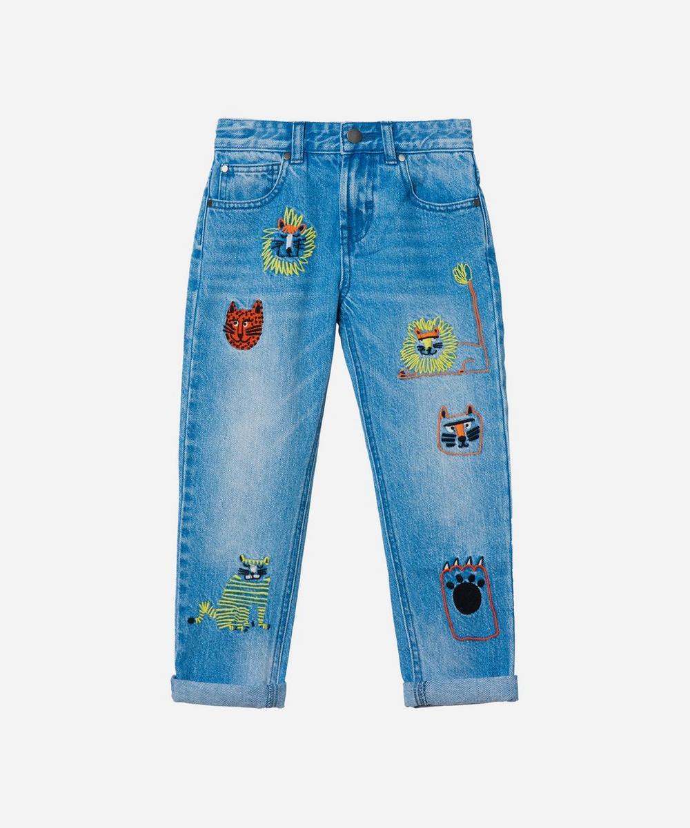 Stella McCartney Kids - Wild Cats Embroidered Denim Jeans 2-8 Years