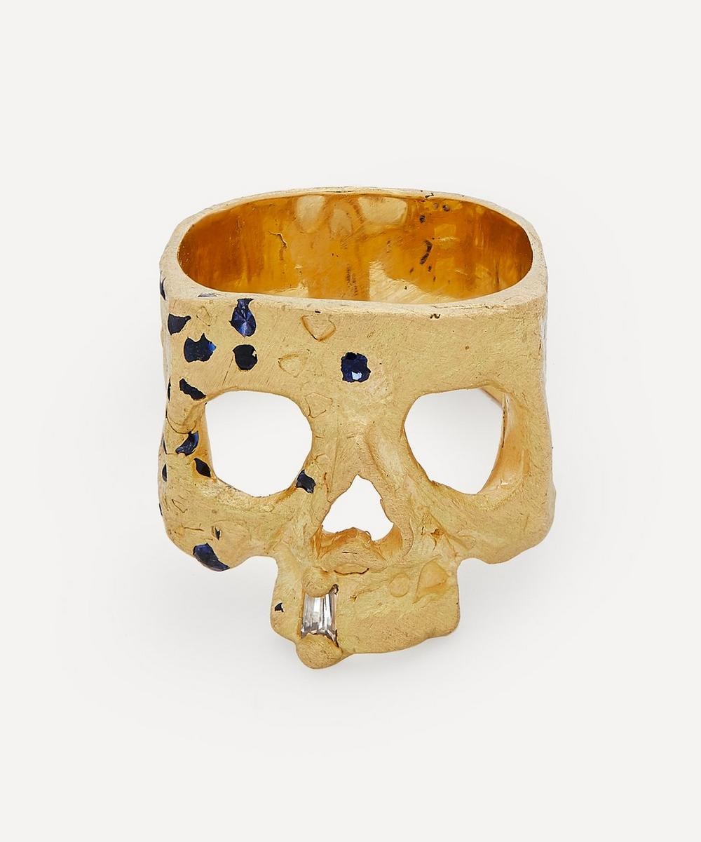 Polly Wales - 18ct Gold Blue Sapphire and Diamond Confetti Skull Ring