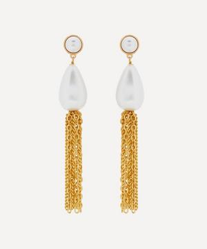 Gold-Plated Pearl Tassel Drop Earrings