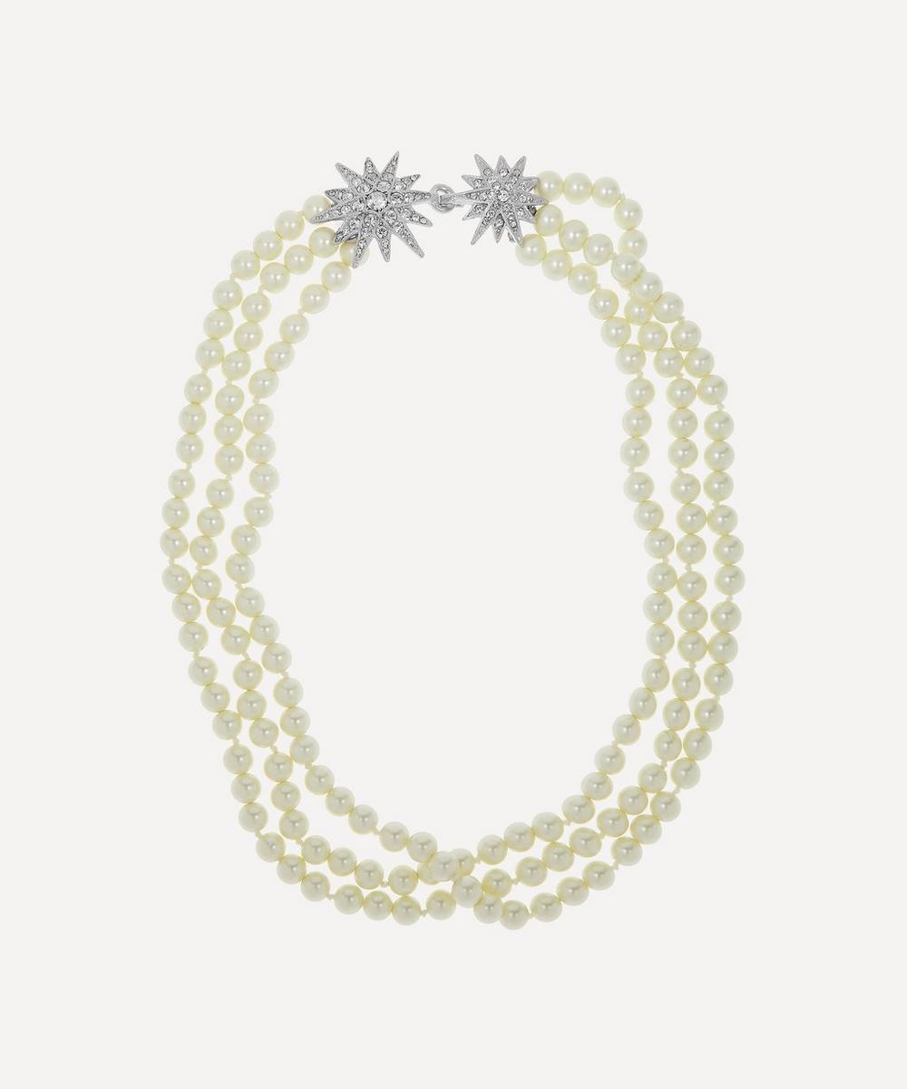 Kenneth Jay Lane - Rhodium-Plated Crystal Star Three-Strand Pearl Necklace
