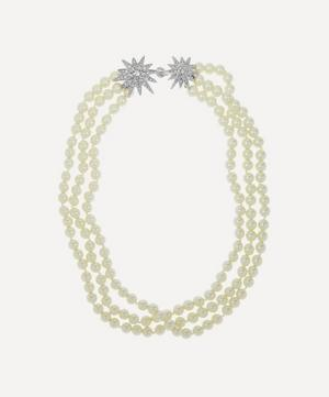 Rhodium-Plated Crystal Star Three-Strand Pearl Necklace