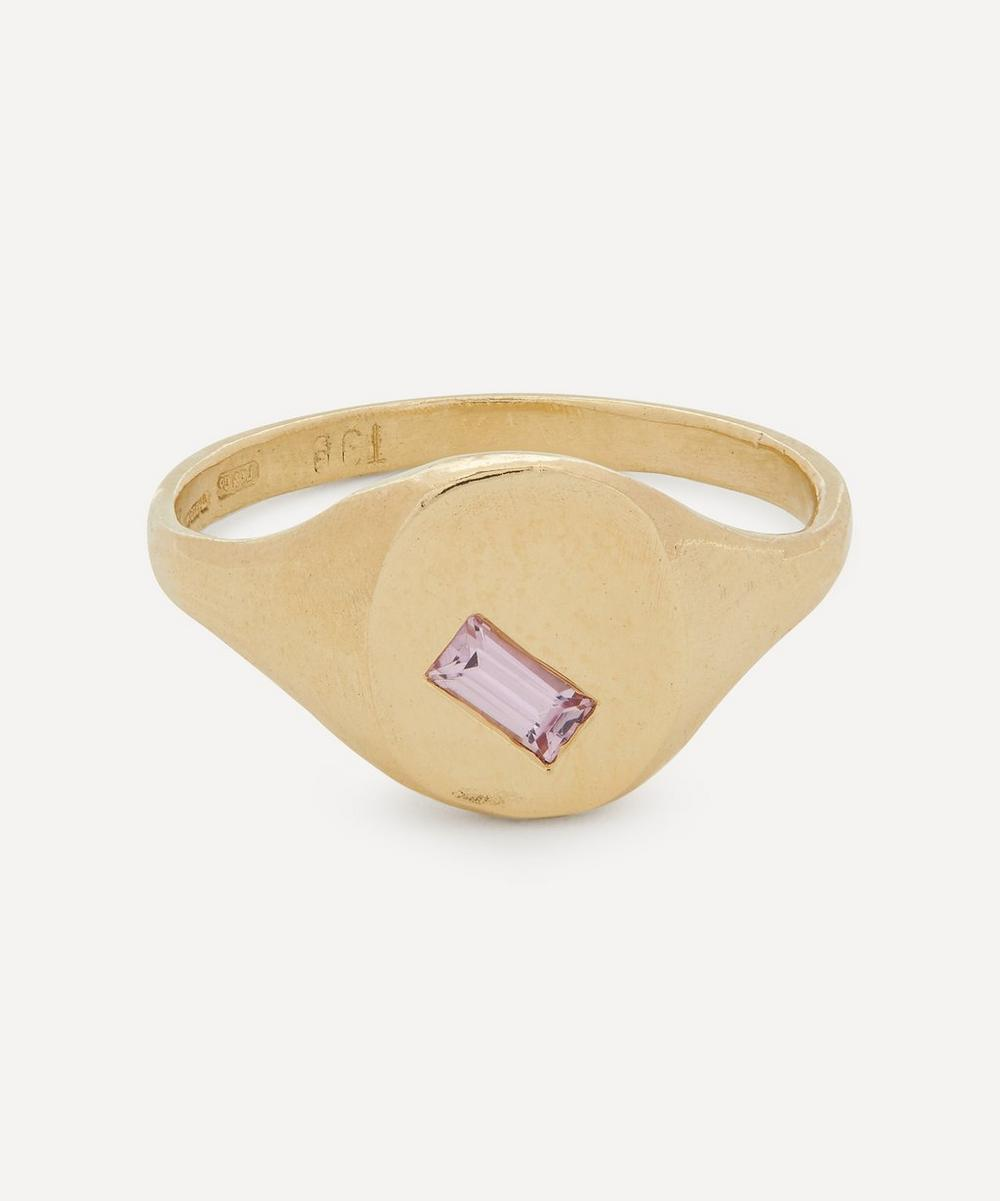 Seb Brown - 9ct Gold Baguette Pink Sapphire Signet Ring