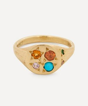 9ct Gold Fire Multi-Stone Signet Ring