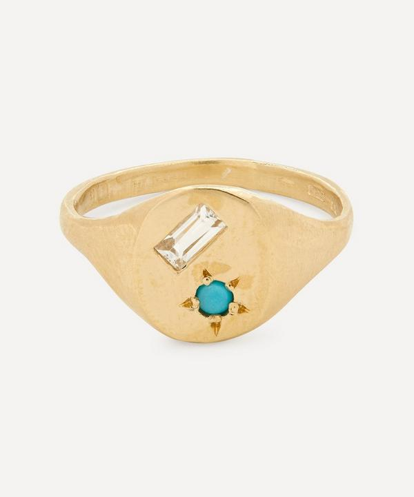 Seb Brown - Gold Ocean Turquoise and White Sapphire Signet Ring
