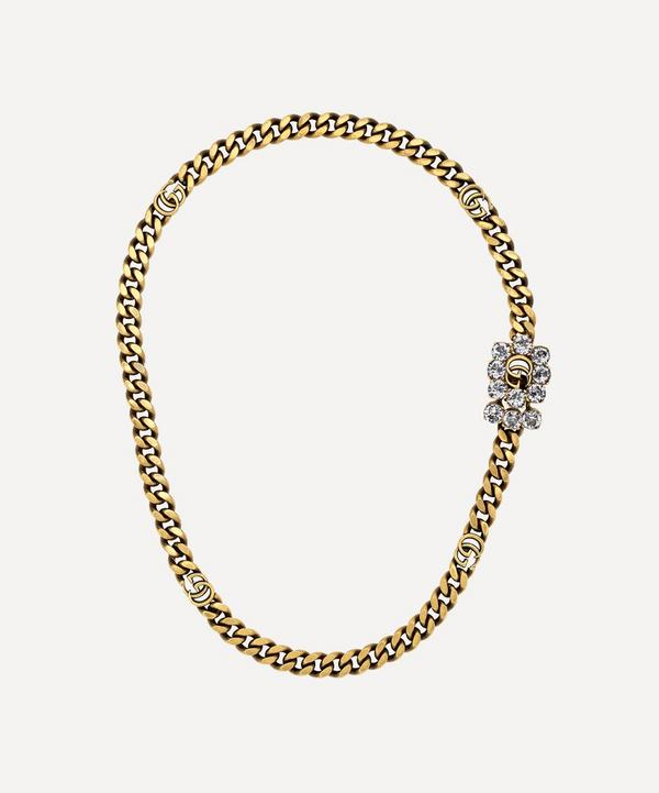 Gucci - Gold-Tone Crystal Double G Necklace