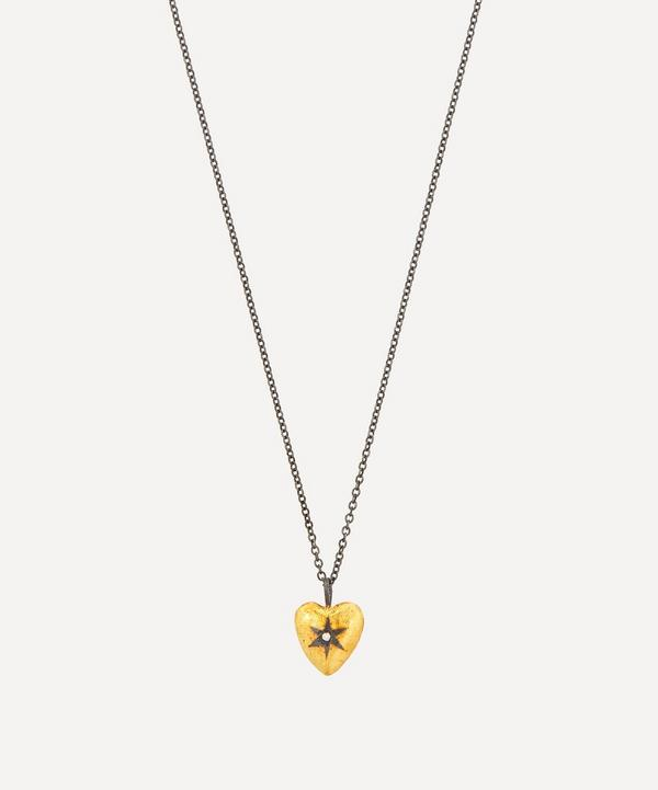 Acanthus - Oxidised Silver Diamond Star Reversible Heart Pendant Necklace