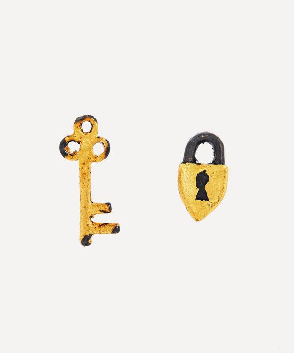 Acanthus - Oxidised Silver Secret Garden Mismatched Lock and Key Stud Earrings