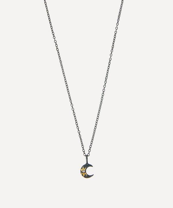 Acanthus - Oxidised Silver Tiny Celestial Diamond Star Crescent Moon Pendant Necklace