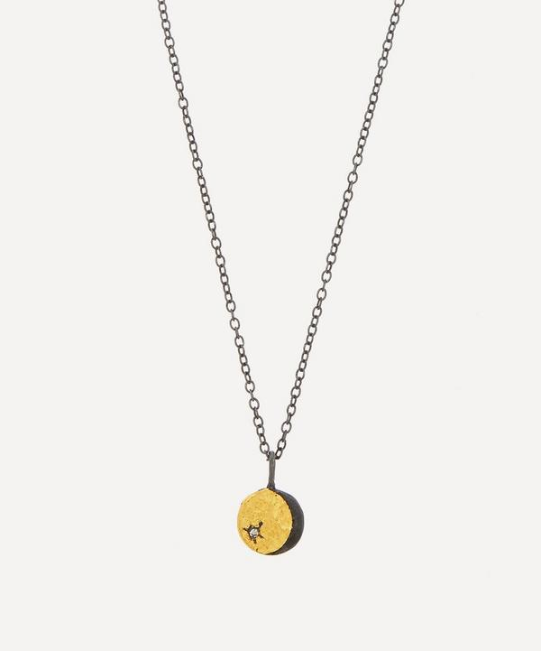 Acanthus - Oxidised Silver Tiny Double-Sided Diamond Lunar Coin Pendant Necklace