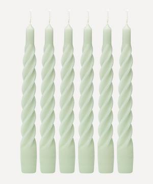 Matte Light Green Twisted Candles Set of Six