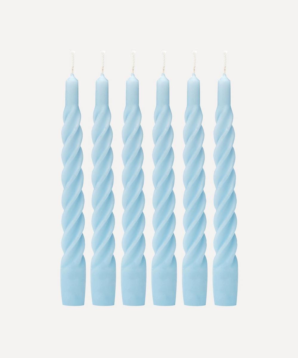 Anna + Nina - Matte Light Blue Twisted Candles Set of Six