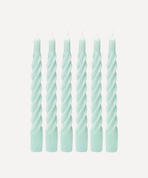 Shiny Aqua Blue Twisted Candles Set of Six