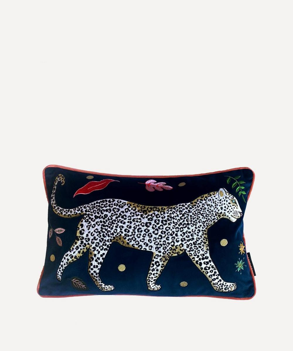 Karen Mabon Snow Leopard Velvet Bolster Cushion In Multicoloured