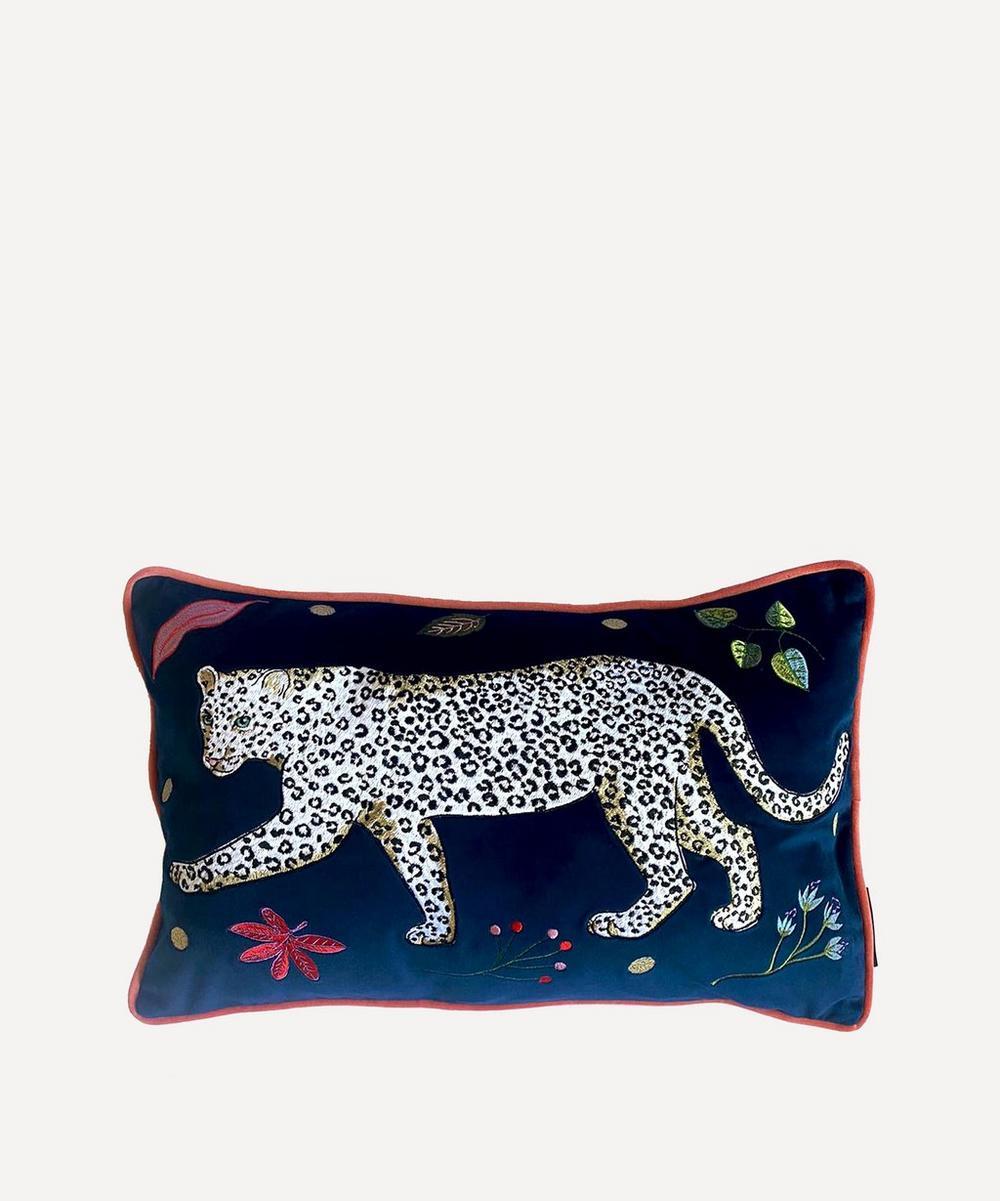 Karen Mabon - Snow Leopard Velvet Bolster Cushion