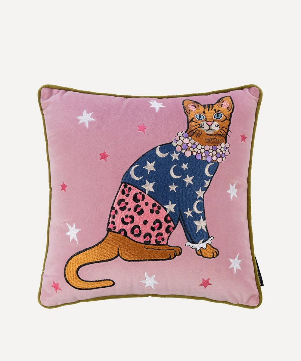Karen Mabon Moon And Stars Embroidered Cat Cushion In Multicoloured