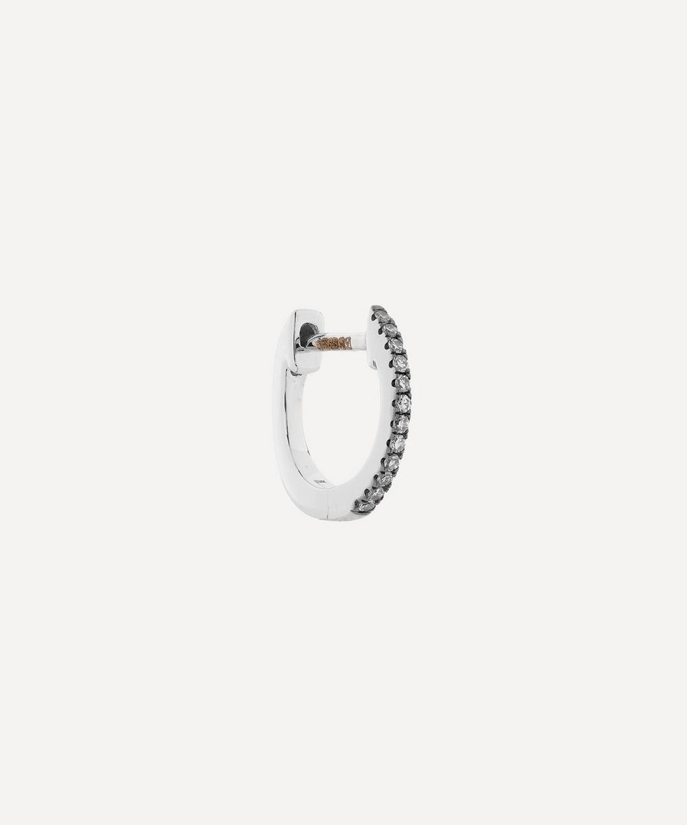 Roxanne First - Mini Rhodium White Gold Diamond Huggie Hoop Earring