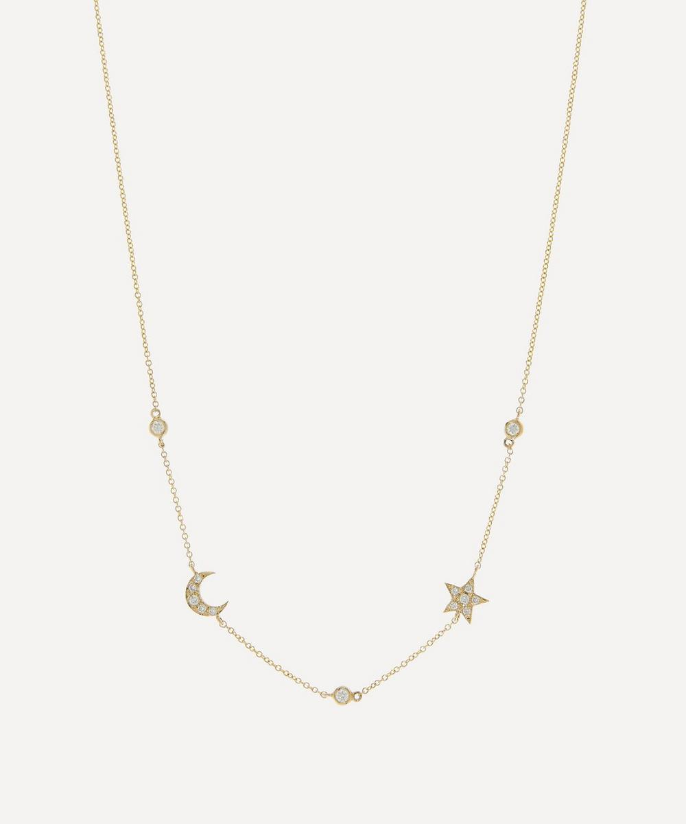 Roxanne First - 14ct Gold Mini Diamond Star and Moon Necklace
