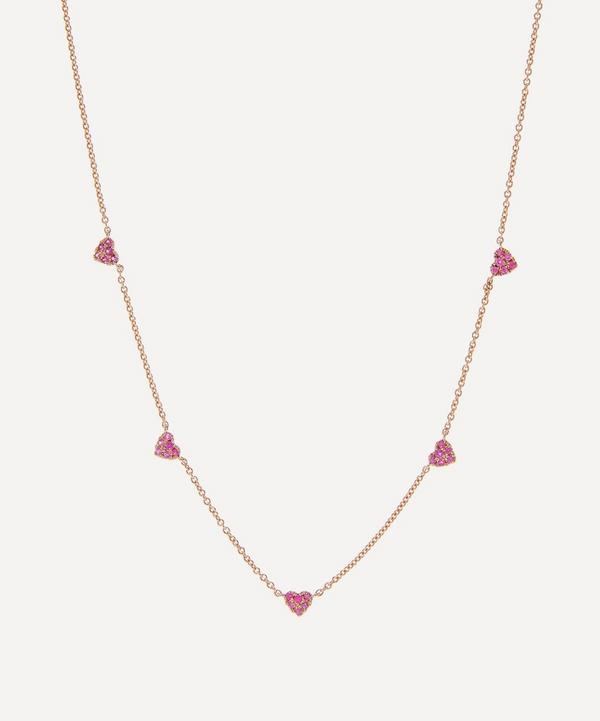 Roxanne First - 14ct Rose Gold Diddy Pink Sapphire Heart Necklace