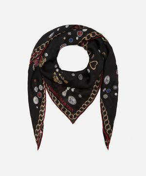 Brooches and Buttons Skull Print Silk Scarf