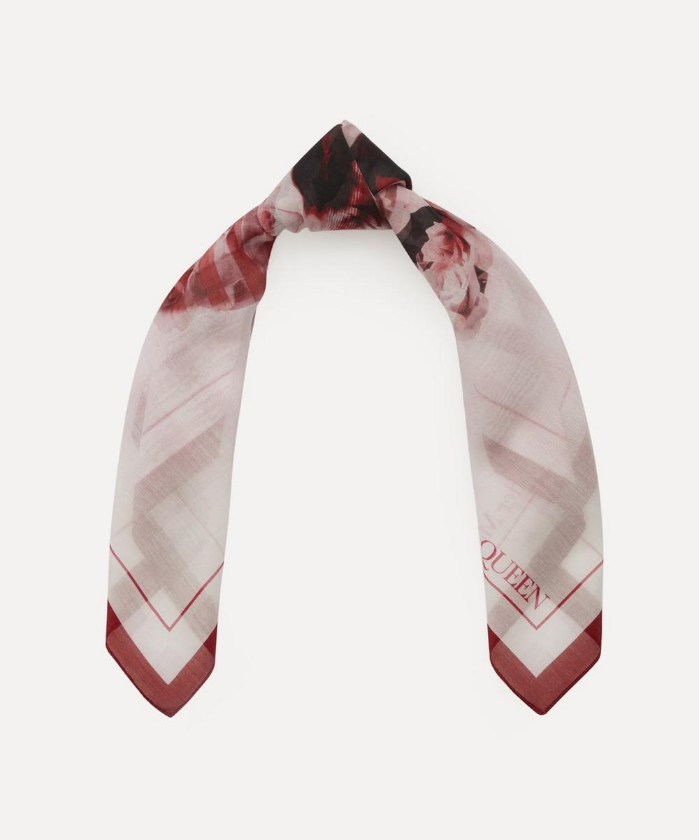 Alexander McQueen - Rose Skull Check Print Cotton-Blend Bandana Scarf