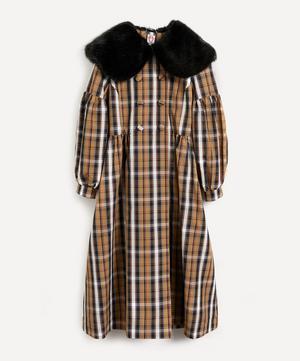 Jacques Checked Faux Fur-Trimmed Coat