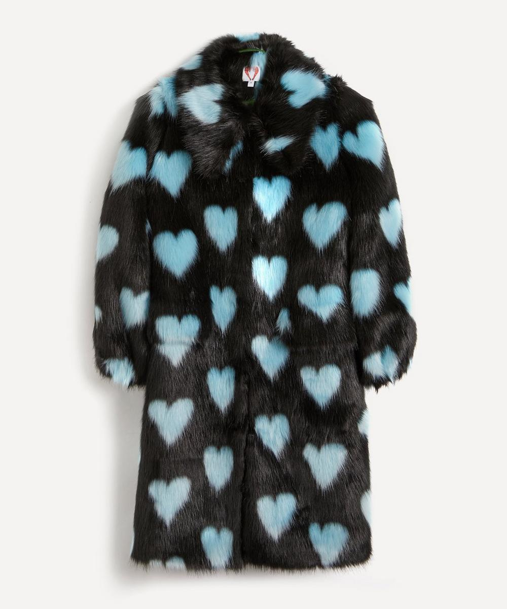 Shrimps - Lorca Heart Faux-Fur Long Coat