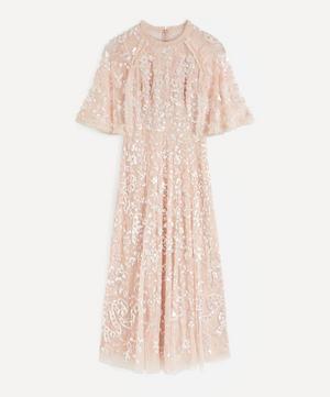 Sequin Ribbon Ballerina Maxi-Dress