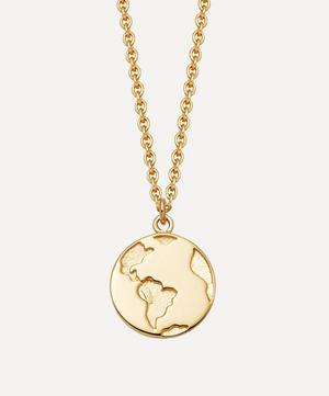 Gold Plated Vermeil Silver Biography Earth Pendant Necklace
