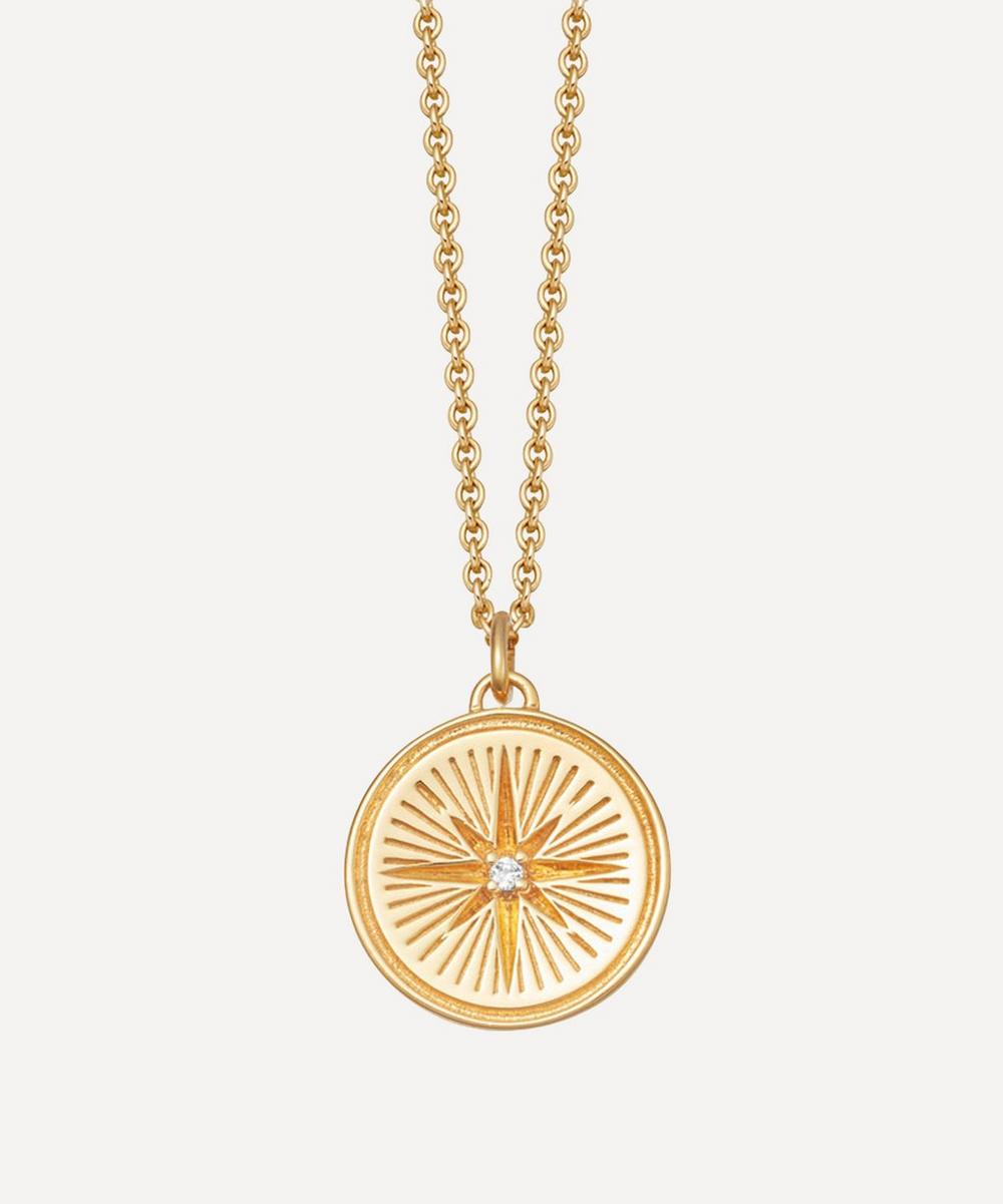 Astley Clarke Celestial Compass 18ct Yellow-gold Vermeil And Sapphire Necklace In Yellow Gold Vermeil
