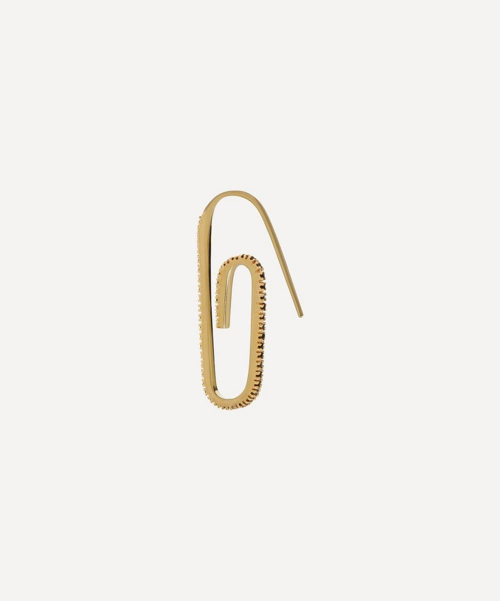 Hillier Bartley - Gold Plated Vermeil Silver Tuxedo Classic Pavé Crystal Paperclip Earring