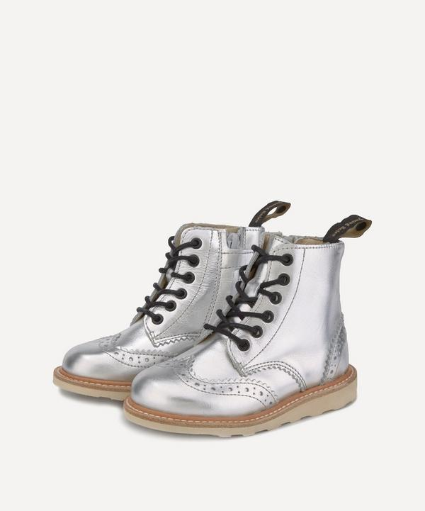 Young Soles - Sidney Silver Brogue Boots Size 24-25