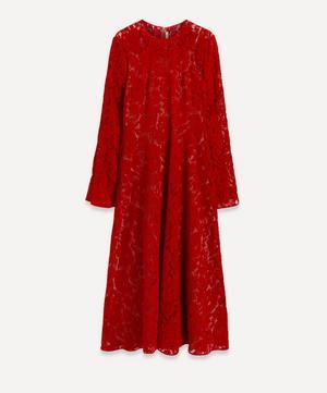 Flock Lace Angel-Sleeve Dress